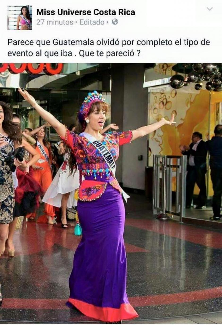 Este es el comentario que Miss Costa Rica publicó supuestamente en redes, que fue borrado inmediatamente, aunque demasiado tarde. (Foto: Miss Guatemala oficial)