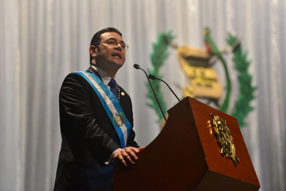 El presidente de la República durante su primer discurso como mandatario, durante la toma de posesión. (Foto: Wilder López/Soy502)