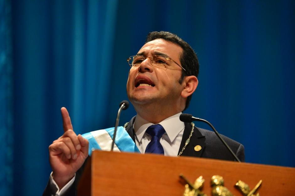 Jimmy Morales, presidente de la República durante su primer discurso como mandatario. (Foto: Wilder López/ Soy502)