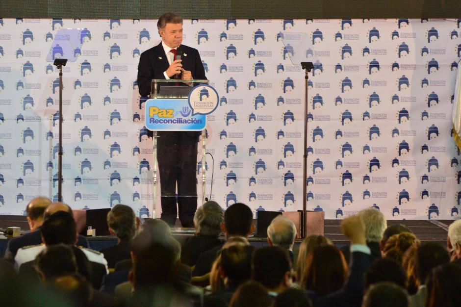 Juan Manuel Santos ofreció un discurso en el Foro Esquipulas sobre el proceso de paz  en Colombia. (Foto: Jesús Alfonso/Soy502)