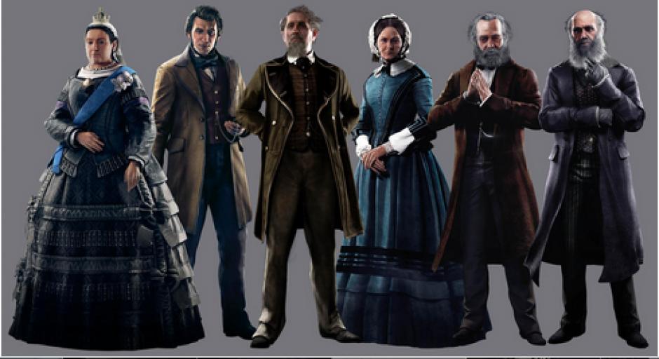 Como ya es tradición en los títulos de Assassin's Creed, aparecen personajes históricos en la trama. En Syndicate figuran (de izquierda a derecha): la Reina Victoria, el inventor Alexander Graham Bell, el escritor Charles Dickens, la enfermera Florence Nightingale, el pensador Karl Marx y el botánico Charles Darwin. (Foto: cnet.com)