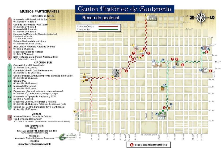 Este es el mapa del recorrido. (Foto: (Asociación de Museos de Guatemala)