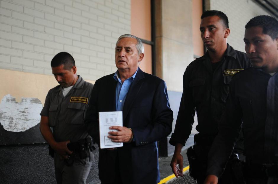 El expresidente Pérez Molina en el noveno día de audiencia por el caso TCQ. (Foto: Alejandro Balán/Soy502)