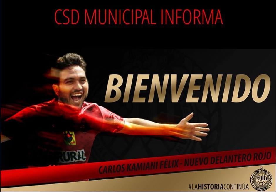 Kamiani Félix será el nuevo delantero de Municipal para el Torneo Apertura 2016 y Clausura 2017. (Foto: Twitter de Municipal)