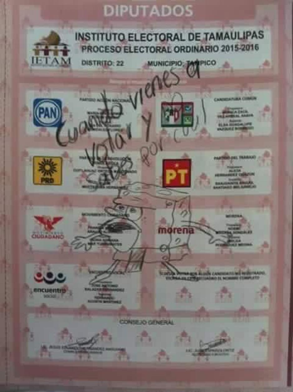 Otros votantes prefirieron dibujar memes sobre la papeleta. (Foto: tiempo.com.mx)