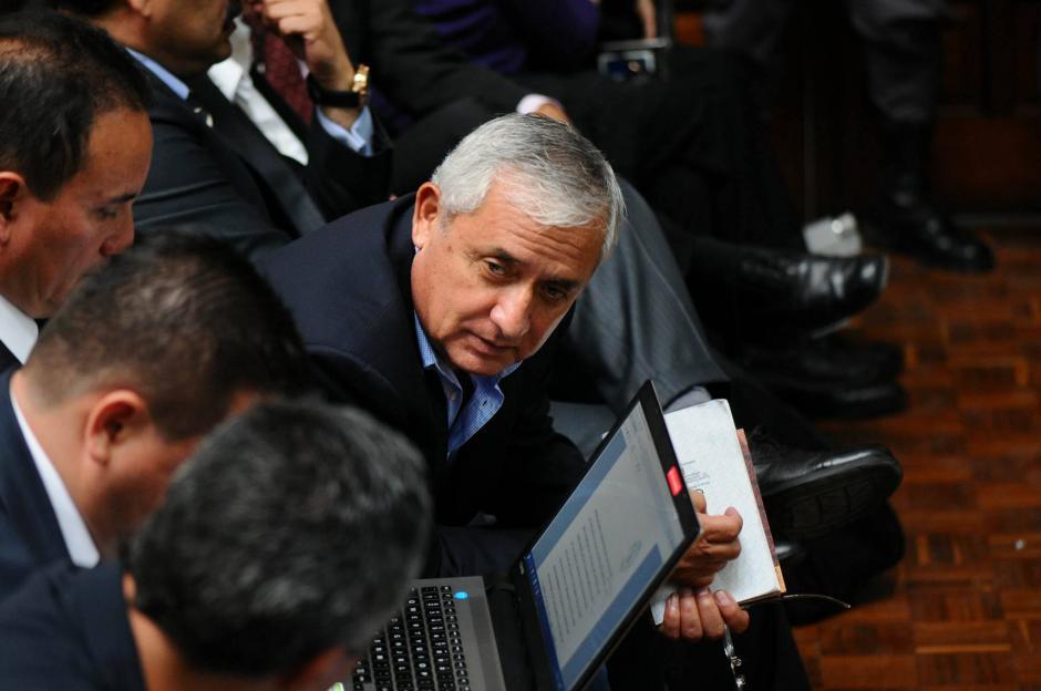 El expresidente Otto Pérez Molina durante la audiencia de primera declaración del caso Cooptación del Estado. (Foto: Alejandro Balán/Soy502)