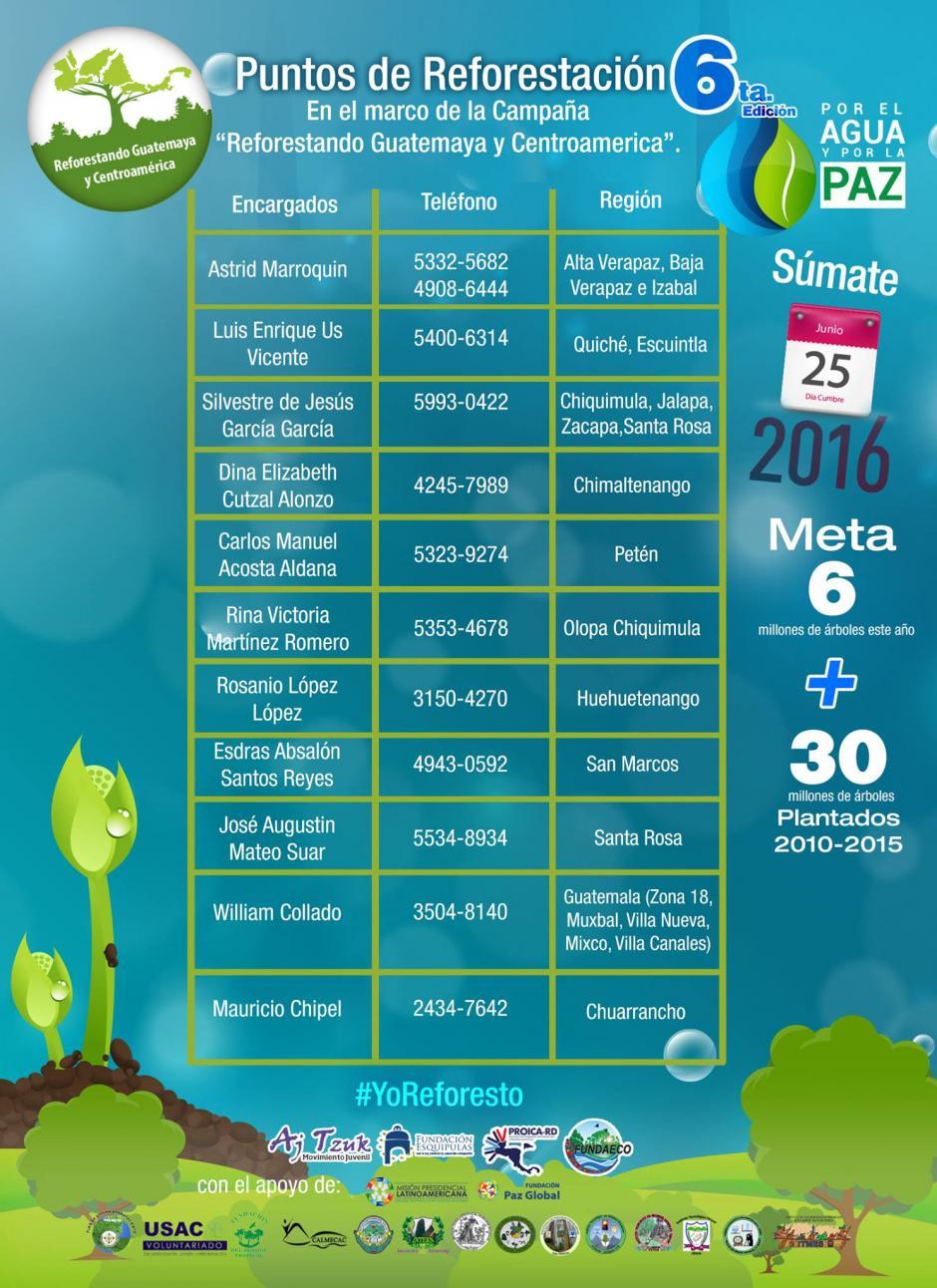 Estos son algunos de los puntos donde se hará la reforestación y los contactos. (Foto: Facebook)