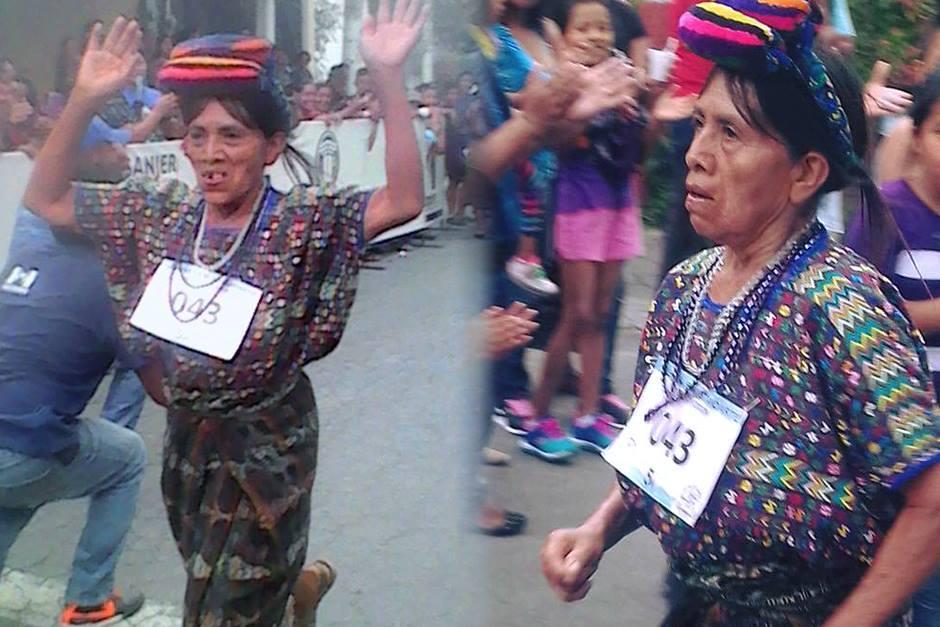 Doña Nico es la mujer de 67 años de San Miguel Chicaj que corrió 5 kilómetros el pasado 26 de junio. (Foto: Colegio Bautista)