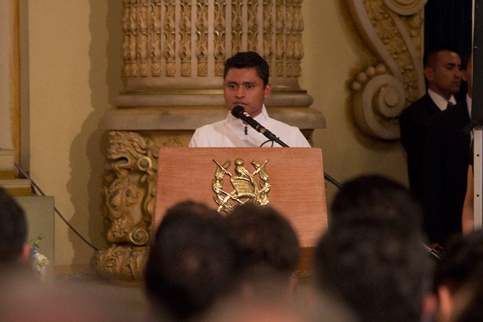 Barrondo en su discurso como abanderado guatemalteco para Río 2016. (Foto: Alejandro Balán/Soy502)