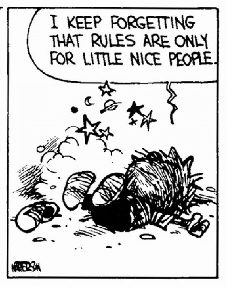 -Siempre se me olvida que las normas están hechas para la gente buena. (Foto: magnet.xataka.com)