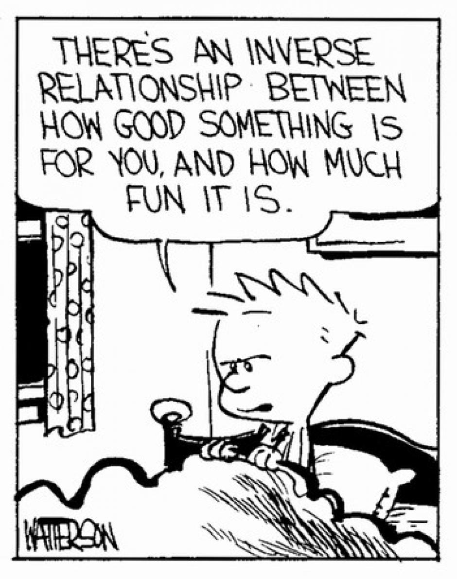 -Hay una relación inversa entre lo bueno que es algo para ti y lo divertido que es. (Foto: magnet.xataka.com)