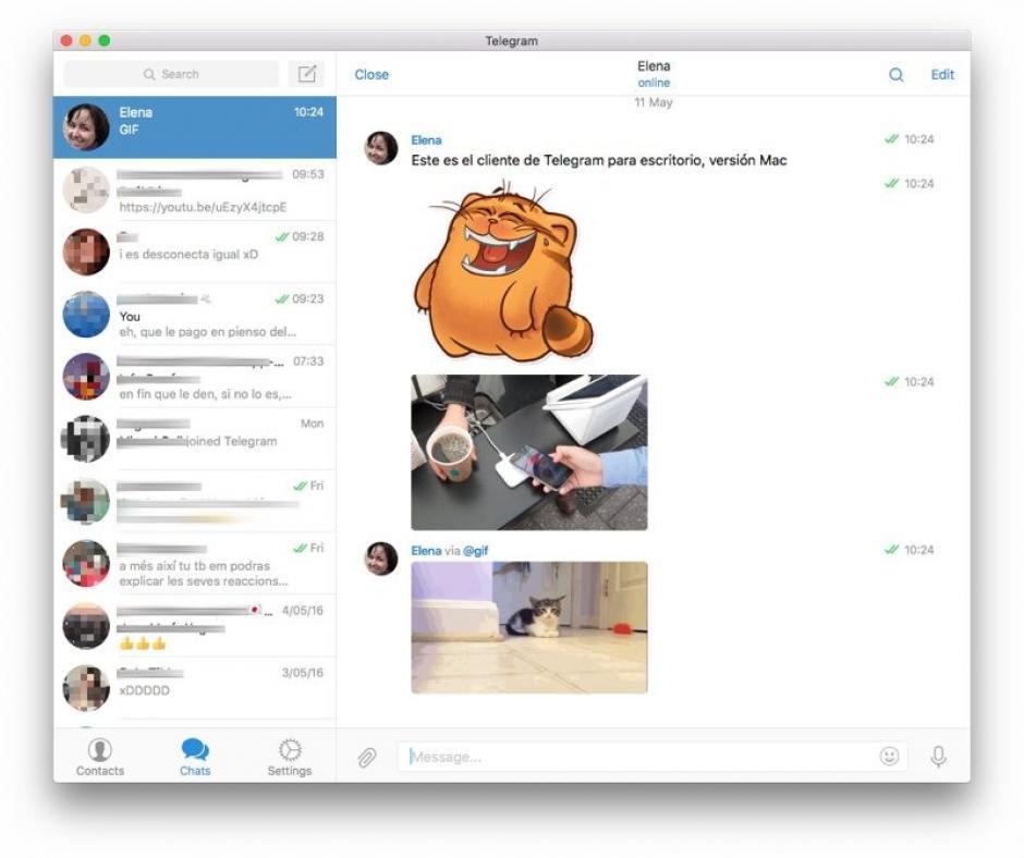 La interfaz de Telegram. (Foto: genbeta.com)
