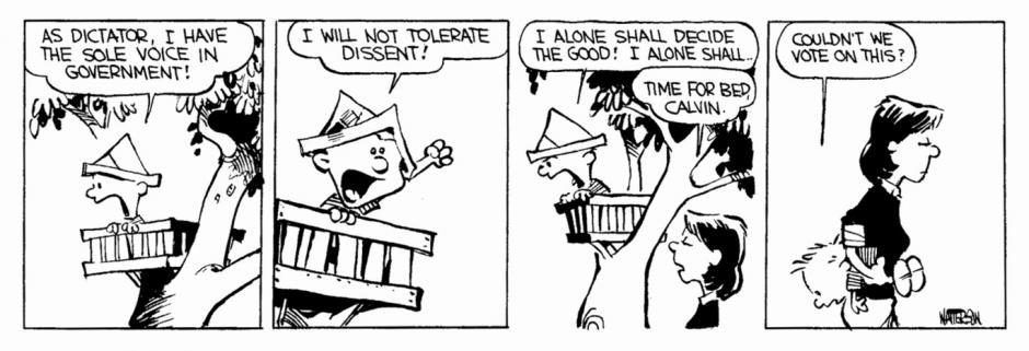 -Como dictador, yo soy la voz del gobierno. No toleraré disidentes. Sólo yo decidiré qué es bueno, solo yo.. -A la cama, Calvin -¿No podemos votar esto? (Foto: magnet.xataka.com)