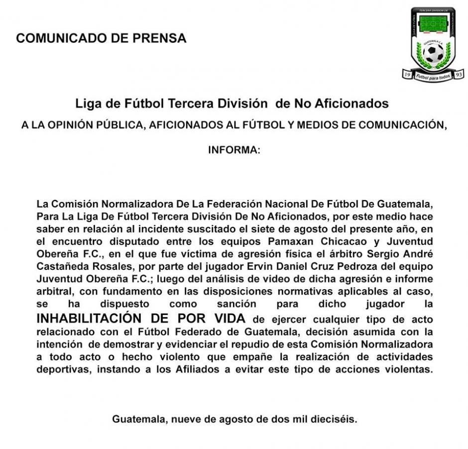 La Comisión Normalizadora y la Liga de Tercera División tomaron una decisión. (Foto: Servicable Canal 14/Facebook)