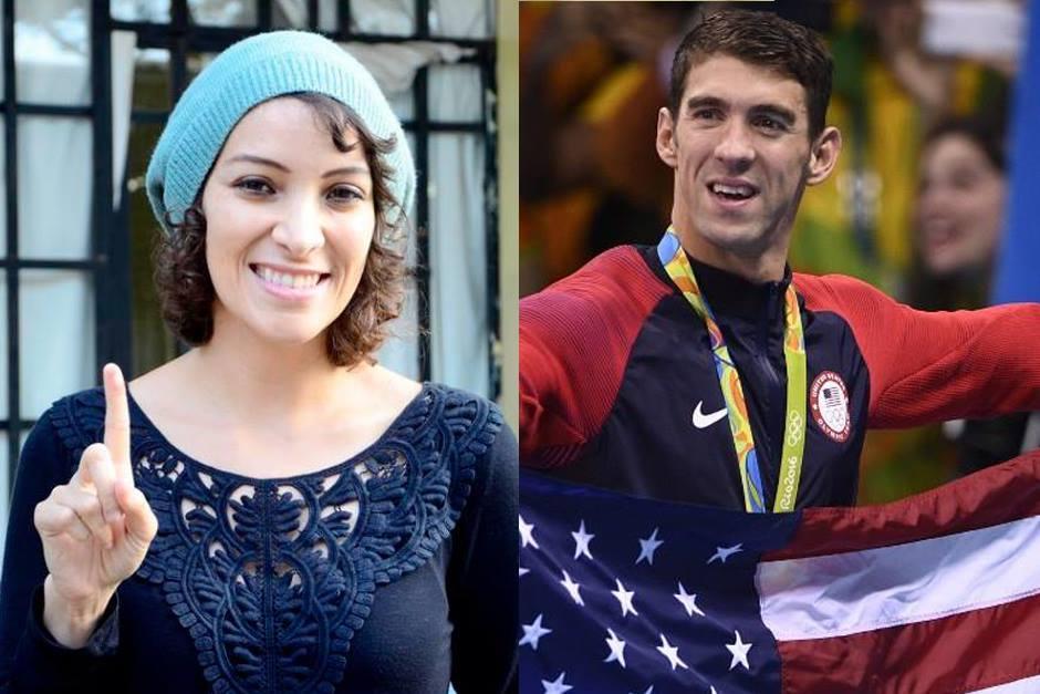 Gaby Moreno mostró su admiración por Phelps y Biles. (Foto: Soy502/AFP)