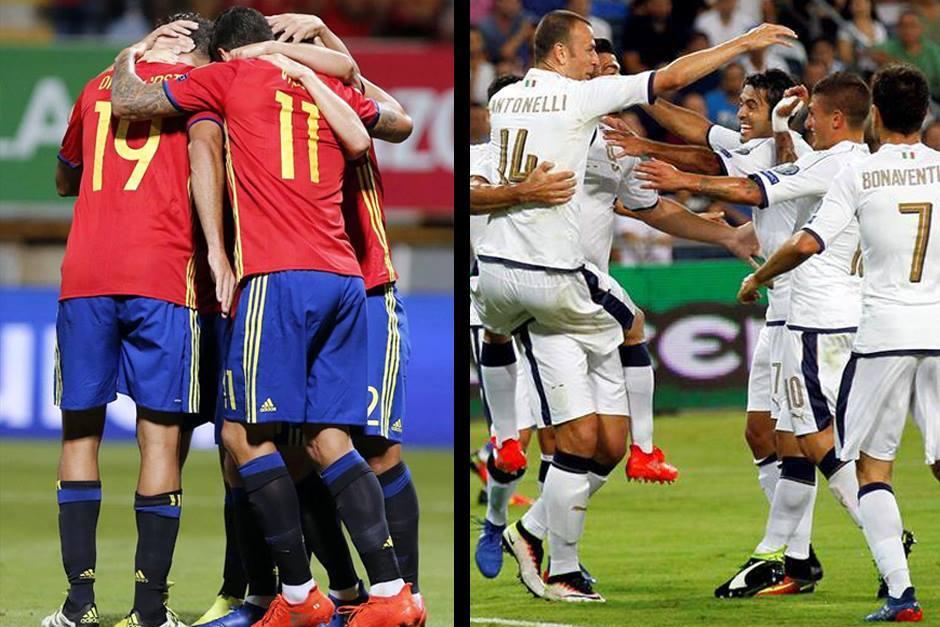 España e Italia ganaron en su grupo rumbo al Mundial. (Fotos: AFP)