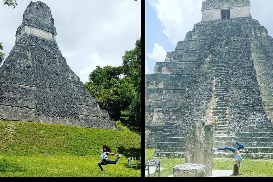 Ana Sofía frente y detrás del famoso Gran Jaguar. (Fotos: Instagram)