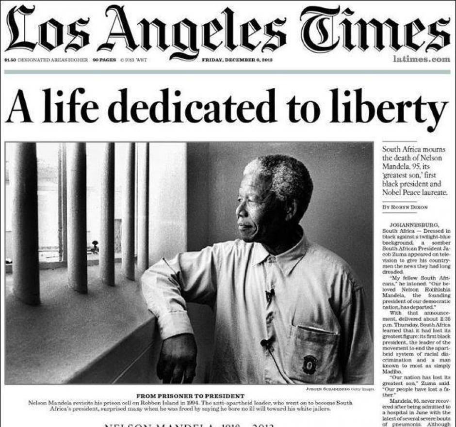"""""""Una vida dedicada a la libertad"""" es el titular de Los Angeles Times de Estados Unidos."""