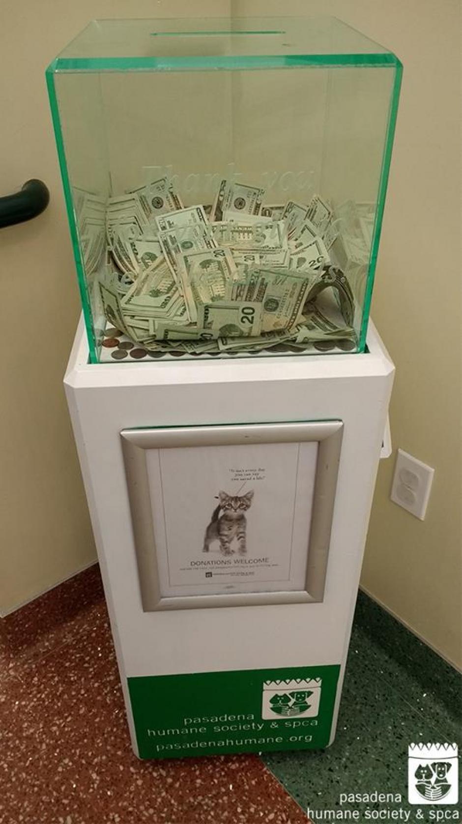 El dinero fue donado de forma anónima. (Foto: Pasadena Humane Society & SPCA)