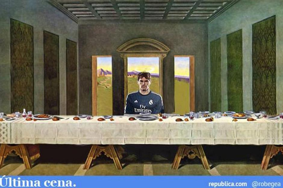 """Una parodia de la """"Última Cena"""" con Casillas como único protagonista. (Foto: as.com)"""