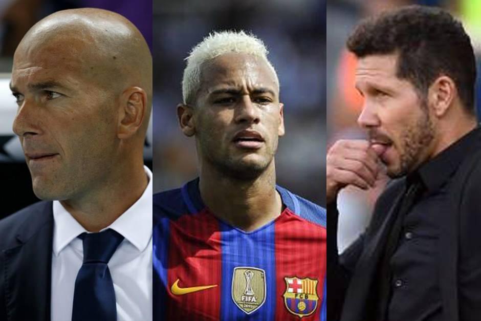 Los técnicos del Madrid y del Atleti defendieron a Neymar. (Fotos: AFP)
