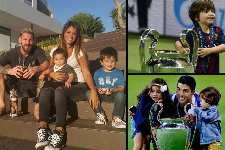La familia de Leo, Milan y Luis Suárez con sus hijos (Fotos: Twitter)
