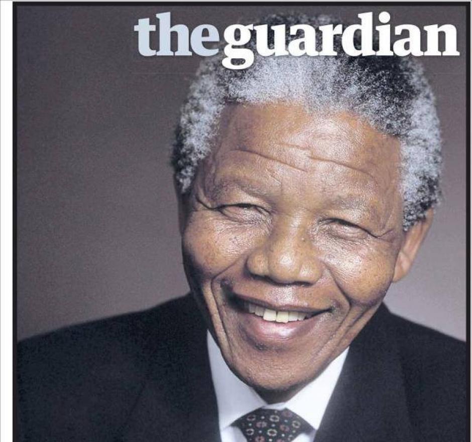 """El diario británico """"The Guardian"""" sin titular, sólo insertó la portada del líder sudafricano."""