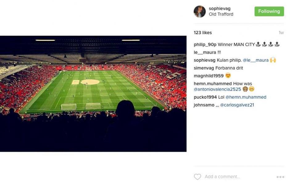 Sophie asistió al derbi de Manchester en Old Trafford. (Foto: Instagram)