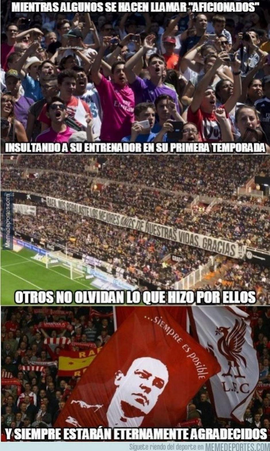 El gesto de la afición de Valencia, en el estadio de Mestalla, no pasó desapercibido en los memes.