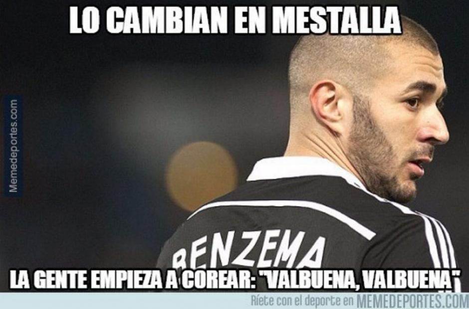 Karim Benzema, anotador del primer gol del Real Madrid, tampoco se salvó de los memes.