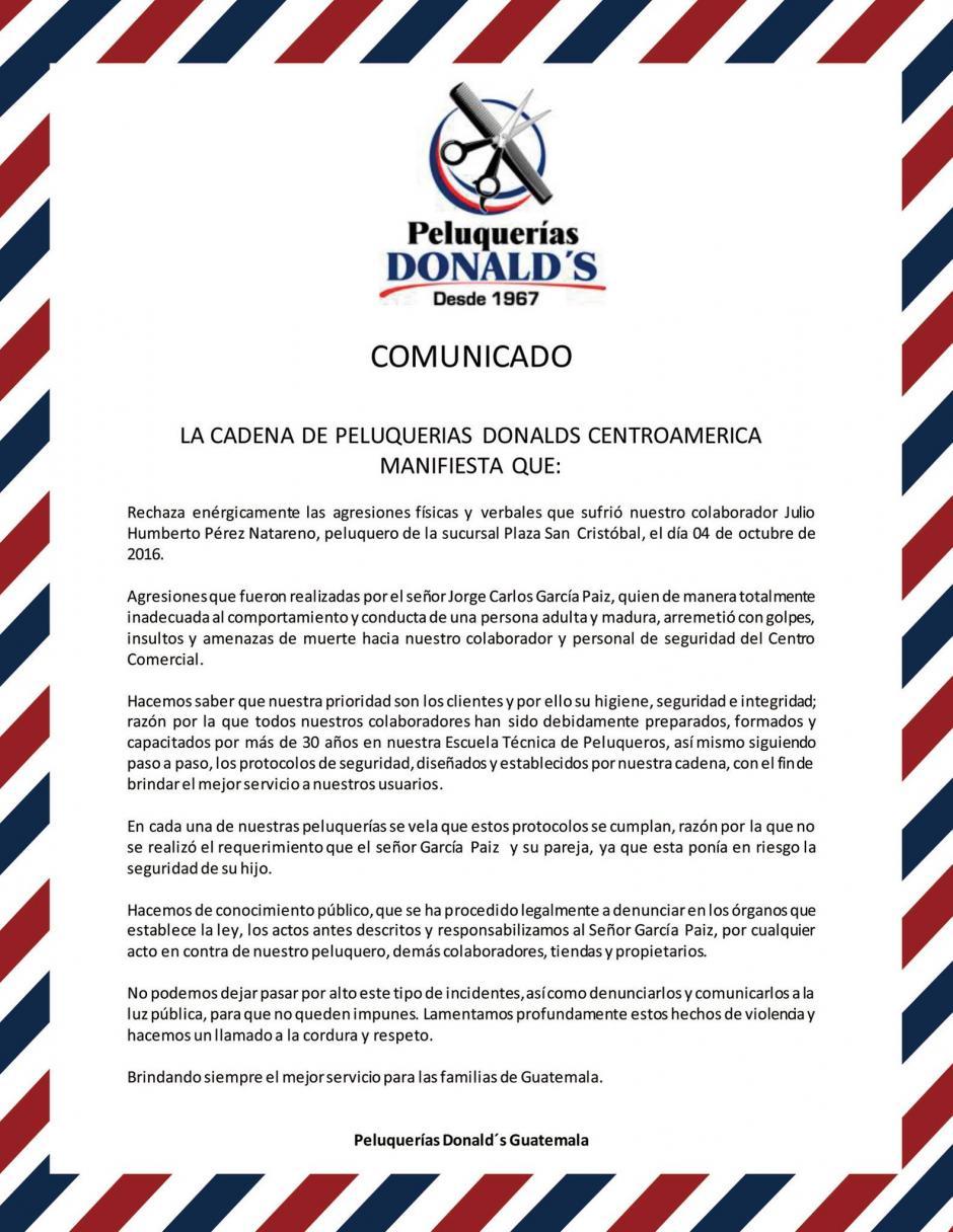 Este fue el comunicado publicado por Peluquerías Donald's en sus redes sociales.
