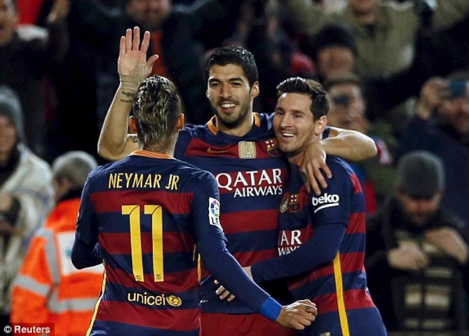 La MSN volvió a ser arrolladora, esta vez ante el Valencia por la Copa del Rey. (Foto: EFE)