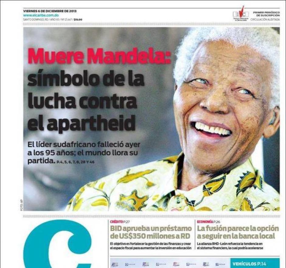 """El diario """"El Caribe"""" de República Dominicana también rinde homenaje a Mandela en su portada."""