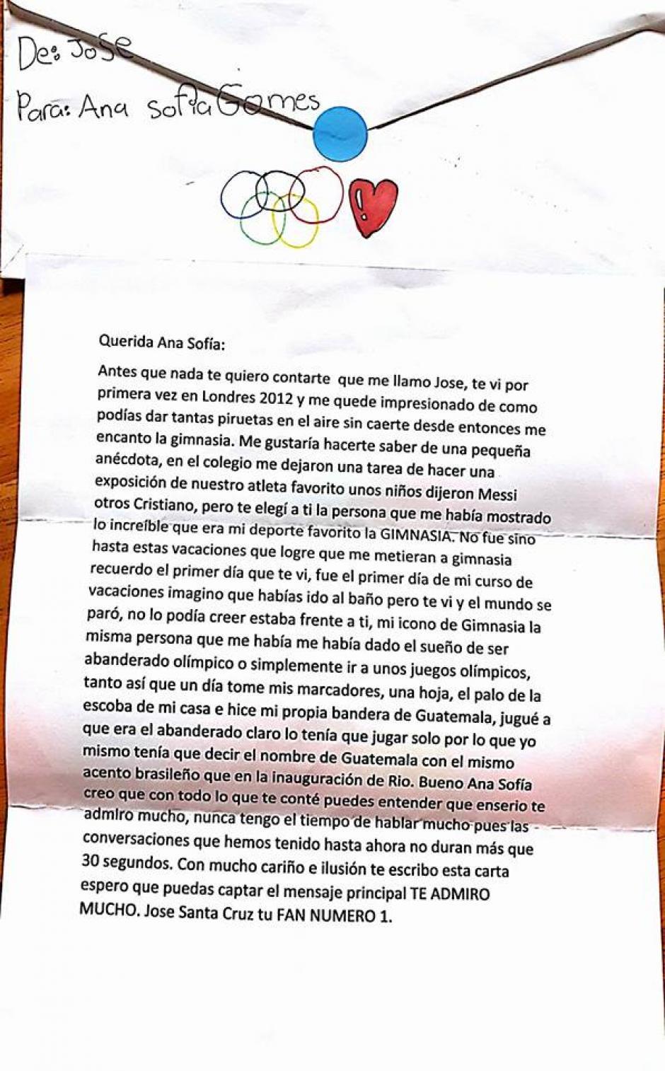 Esta es la carta que José le envió a Ana Sofía Gómez. (Foto: Ana Sofía Gómez)