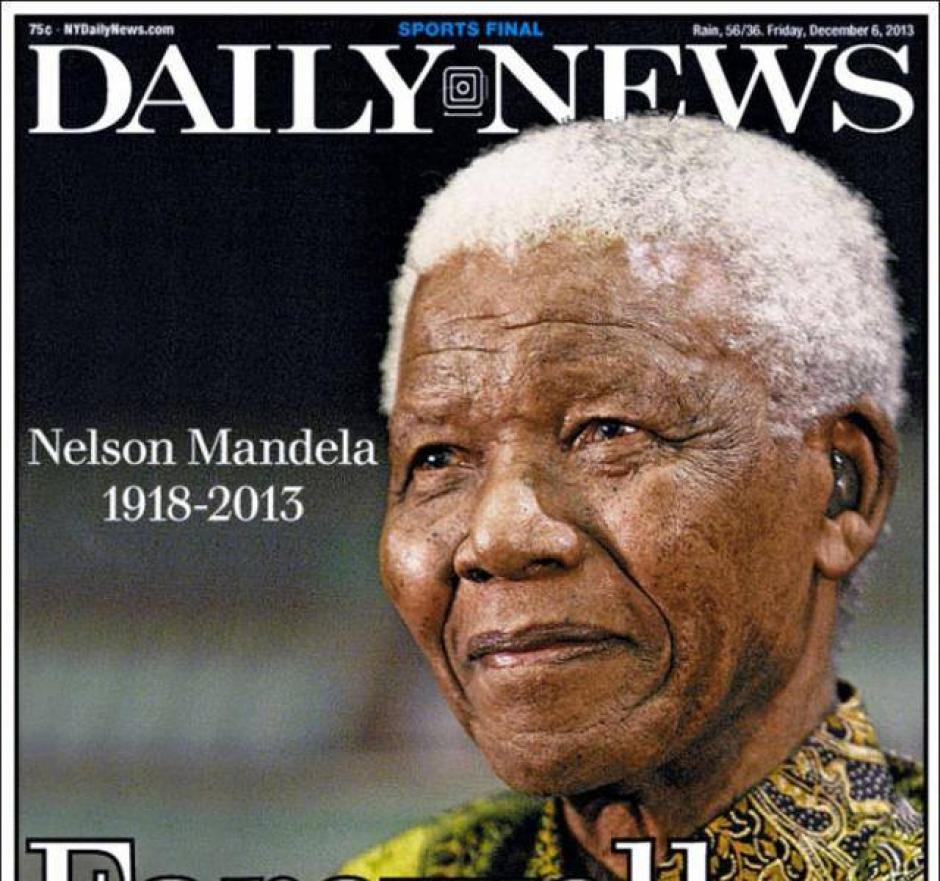 """El diario """"Daily News"""" de Nueva York también coloca en su portada la fotografía de Mandela."""
