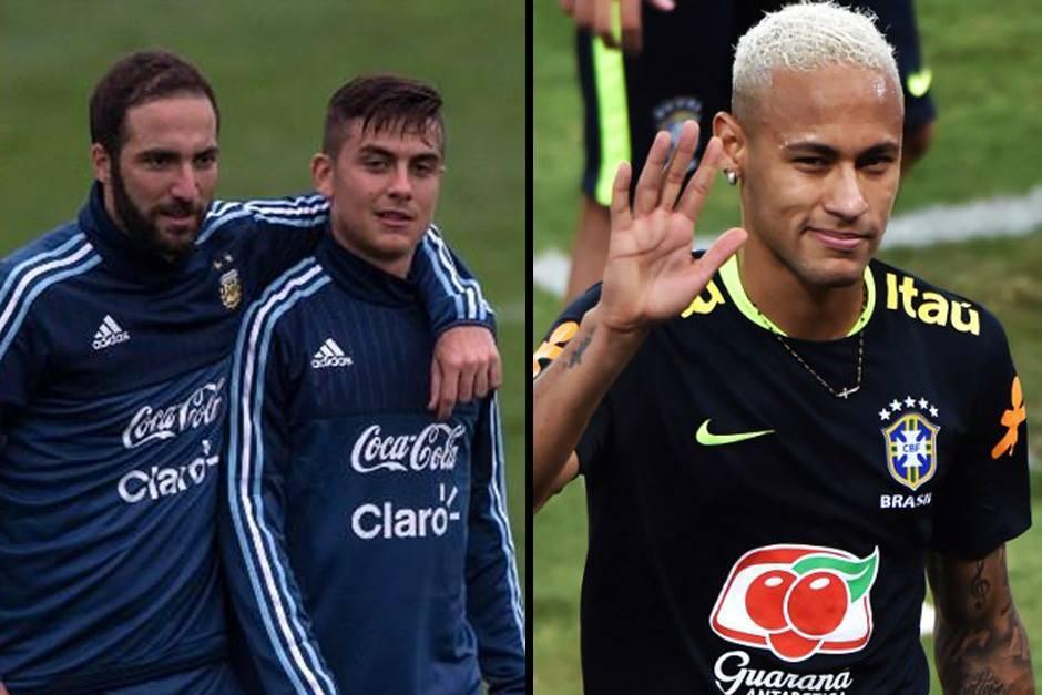 Higuaín con Dybala, más Neymar. (Fotos: AFP)