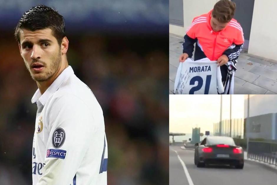 Morata tuvo un gran gesto con un niño. (Foto: AFP y capturas de pantalla)