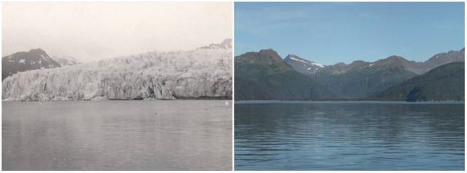 El Glacial McCarthy, Alaska. Julio de 1909 (izquierda) y agosto de 2004 (derecha) (Foto: genial.guru.com)