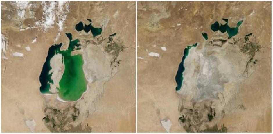 El mar de Aral, en Asia Central. Agosto de 2000 (izquierda) y agosto de 2014 (derecha). (Foto: genial.guru.com)