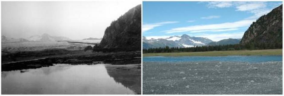 El Glacial Oso, Alaska. Julio de 1909 (izquierda) y agosto de 2005 (derecha). (Foto: genial.guru.com)