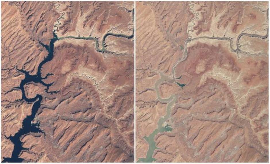 El Lago Powell, Arizona y Utah. Marzo 1999 (izquierda) y Mayo 2014 (derecha). (Foto: genial.guru.com)