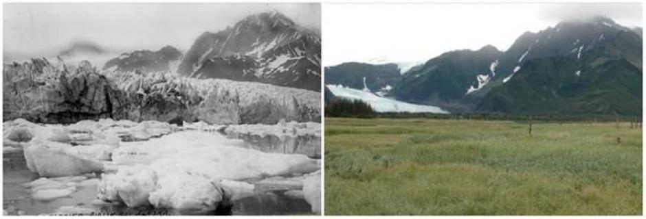 El Glacial Pederson, Alaska. Verano 1917 (izquierda) y verano 2005 (derecha). (Foto: genial.guru.com)