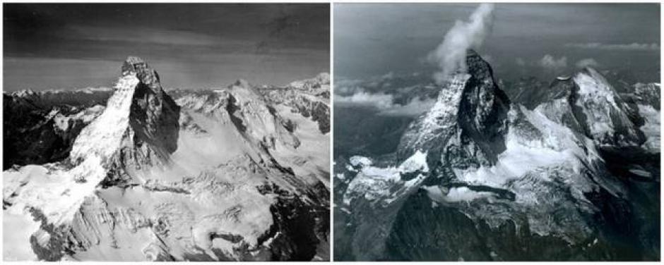 La Montaña Matterhorn, Alpes, en la frontera entre Suiza e Italia. Agosto de1960 (izquierda) y agosto de 2000 (derecha). (Foto: genial.guru.com)