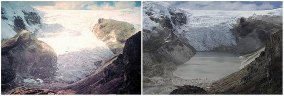 El Glacial Corey Kalis, Perú. Julio de 1978 (izquierda) y julio de 2011 (derecha). (Foto: genial.guru.com)