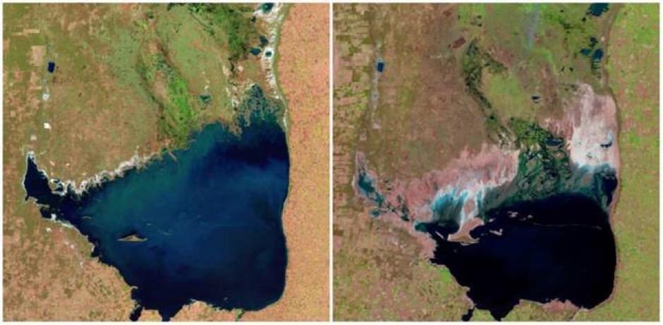El Lago Mar Chiquita, Argentina. Julio de1998 (izquierda) y septiembre de 2011 (derecha). (Foto: genial.guru.com)