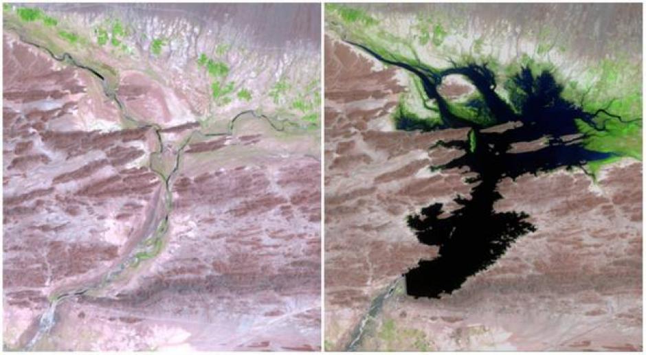 El río Dasht, Pakistán. Agosto de 1999 (izquierda) y junio de 2011 (derecha). (Foto: genial.guru.com)