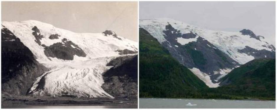 El Glaciar Tobogán. Junio de 1909 (izquierda) y septiembre de 2000 (derecha). (Foto: genial.guru.com)