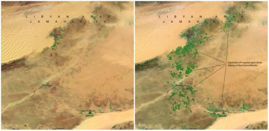 El río hecho por el hombre en Libia. Abril de 1987 (izquierda) y abril de 2010 (derecha). (Foto: genial.guru.com)