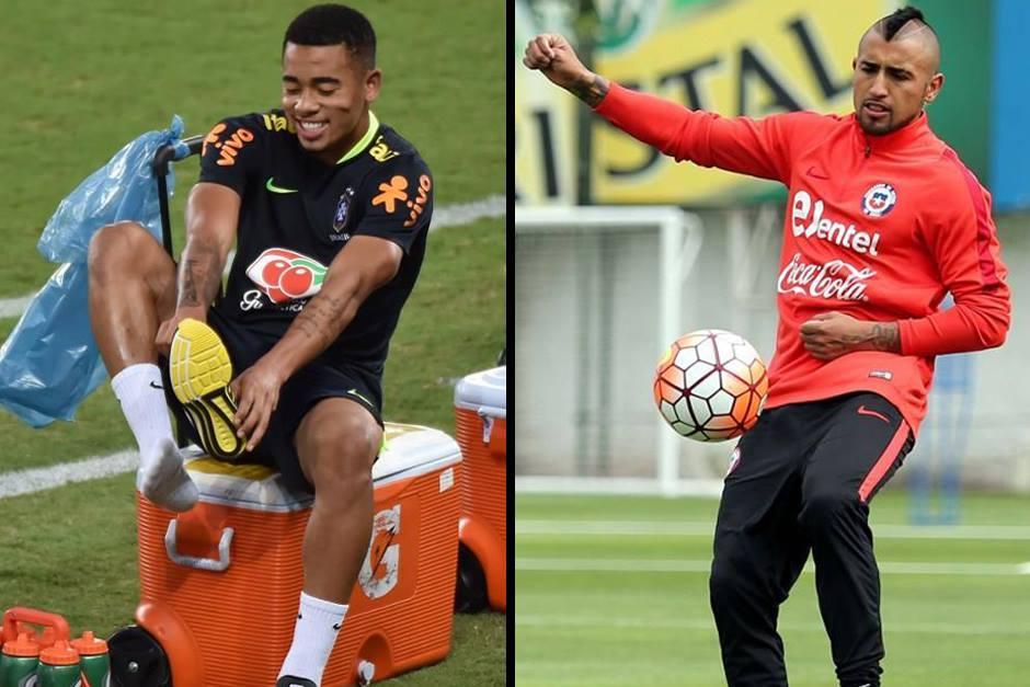 Gabriel Jesús y Arturo Vidal durante los entrenamientos. (Foto: AFP)