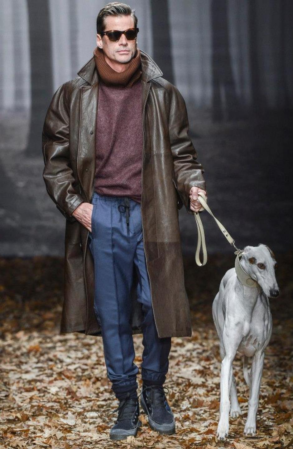 En la pasarela de la colección de Trussardi, así lucieron los modelos de la marca. Foto Trussardi